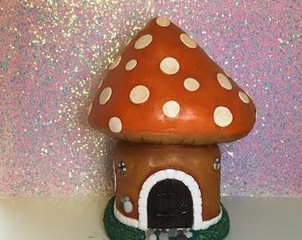 Charming Toadstool House Jar