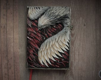 Phoenix art notebook journal cover from polymer clay
