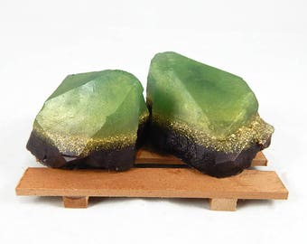 Green & Wine Rock Soap Set - Soap Dish Included