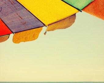 Beach photography, beach umbrella, Thailand, deep blue sea, ocean art, Asia, primary colors, nautical print, boats, summer holiday, seaside