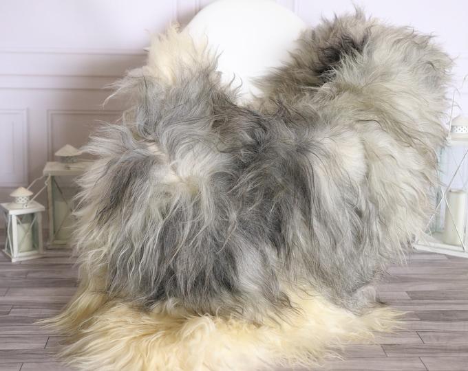 Icelandic Sheepskin | Real Sheepskin Rug |  Super Large Sheepskin Rug Ivory Gray | Fur Rug | Homedecor #MIHISL28
