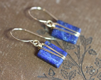 Lapis Earrings Gold Wire Wrapped Blue Gemstone Earrings Gold and Blue Earrings Dainty Rustic Jewelry