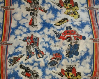 Rare Find .... 1 3/8 yards 1984 Hasbro Transformers Vintage Unwashed Cotton Muslin Fabric