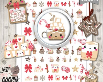 Hot Chocolate Stickers, Planner Stickers, Printable Planner Stickers, Hot Cocoa Stickers, Chocolate Stickers, Christmas Stickers