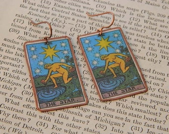 Tarot earrings tarot jewelry The Star mixed media jewelry supernatural