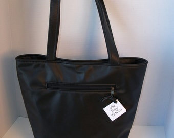 Large Size Tote Bag  Soft Black Leather-made in the USA