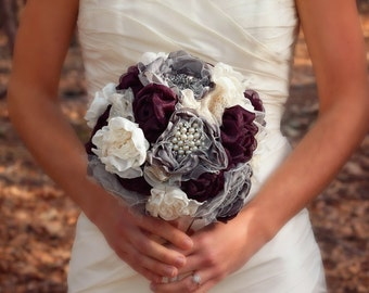 Fabric Bridal Bouquet | Wedding Bouquet | Large Bridal Bouquet | Rustic Wedding Flowers | Brooch Bouquet | Romantic Elegant Wedding Bouquet