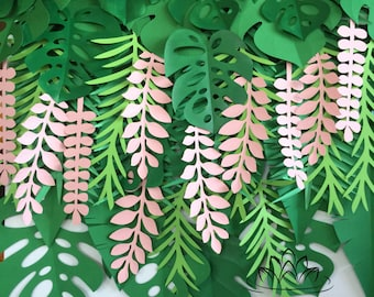 TROPICAL LEAVES BACKDROP / Jungle party backdrop/Tropical wedding/Kids party/Dessert table/Cake smash/window display/Visual merchandising
