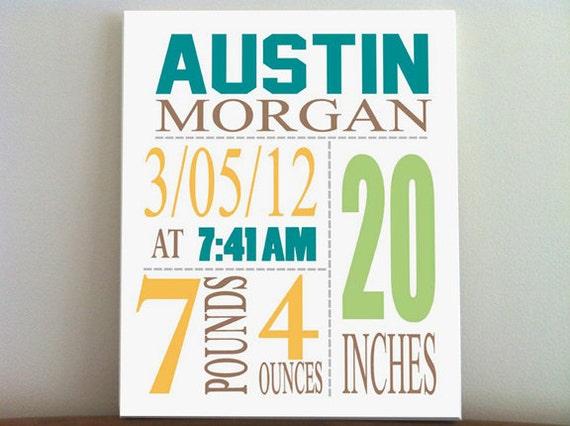 Baby Birth Announcement Canvas Print 10 X12 Boys