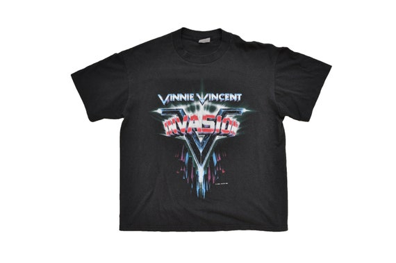 Tour Vincent M Metal 1980s 1986 Hair Tee 1987 Kiss Invasion Vinnie Rock World Music Vintage Band XS0wUnpS