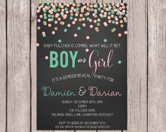 DIY PRINTABLE- Confetti- Gender Reveal Invite- Gender Reveal Invitation- He or She Invite- Baby Shower Invite-5x7 JPG
