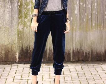 Velvet joggers, velvet sweat pants.