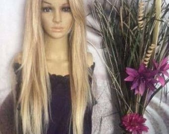 Human hair blend honey /ash blonde mixed with 613 Blonde Lace Front Wig