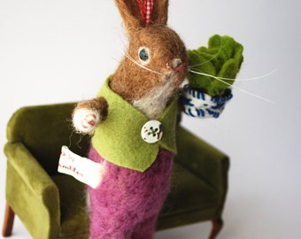 Original Needle Felted Spring  Bunny with Felted Lettuce