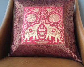 Silk Brocade Cushion Cover. Elephant print. Indian style!