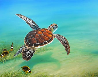 Original 36x48 Ocean Sea Turtle Seascape Painting on Canvas by J. Mandrick