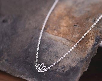 Lotus Flower 925 Sterling Silver | Boho necklace | Zen Necklace | Bohemian Necklace | Silver Yoga Necklace | Gifts for her | Yoga Jewelry