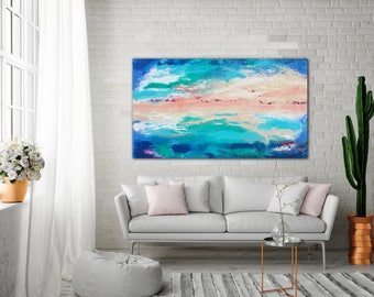 ORIGINAL PAINTING 32x54 UNstretched Canvas Abstract Painting Blue Acrylic Painting Original Art  Large Canvas Art  Abstract Landscape