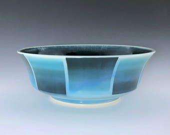 Ceramic Serving Bowl, Teal Blue Bowl, Wheel Thrown Pottery Bowl, Porcelain Bowl, Ceramic Fruit Bowl, Teal Salad Bowl, Pasta Bowl, Chip Bowl