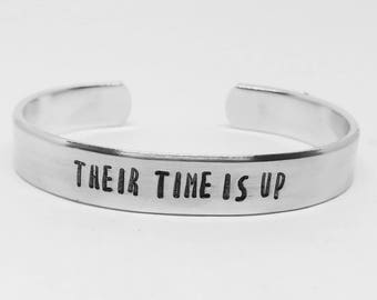 Their time is up: hand stamped aluminum Oprah quote feminist cuff bracelet