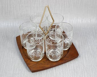 Set of 6 Clear and White Shot Glasses inWood and Metal Carry Stand 1960's