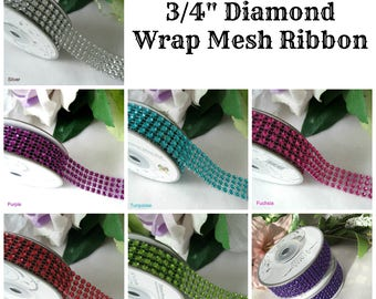 "3/4"" Diamond Wrap Mesh Ribbon Silver, Turquoise, Red, Purple, Fuchsia, Apple Green, Regal Purple for Wedding Decor, Embellishment, 3 yards"