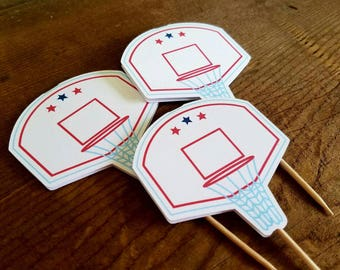 Basketball Friends Party - Set of 12 Basketball Hoop Cupcake Toppers by The Birthday House