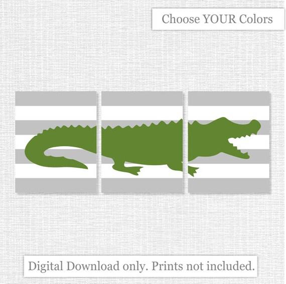 INSTANT DOWNLOAD Navy Blue And Green Alligator Boy Room Playroom Bathroom  Wall Art Decor Prints Set Of 3, 8x10, Alligator Silhouette