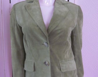 """1990s Sage Green Suede Jacket for """"Ann Taylor,"""" Size 2"""
