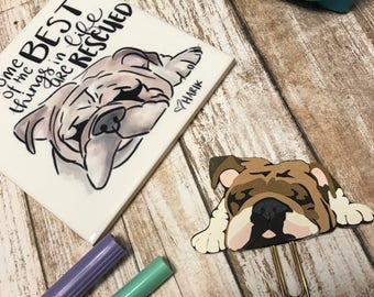 English Bulldog Planner Clip Bookmark