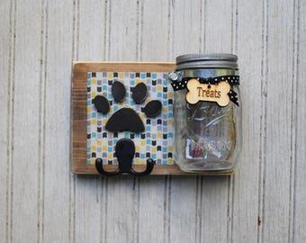 Dog leash holder with Treat Jar.   Handmade Leash Holder with Treat Jar holder