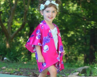 Hot pink and purple floral child kimono, baby kimono, toddler kimono, floral kimono, baby swum suit, swim suit cover up, leotard,