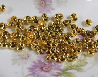 100 Gold Tone Crimp Bead Covers 4mm (B318j)