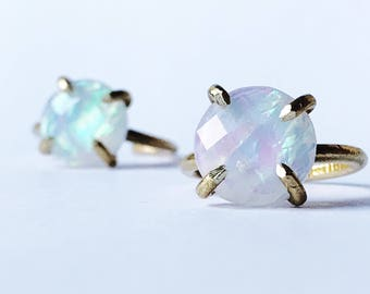 Opal ring / moonstone ring / fire opal ring / prong set opal ring