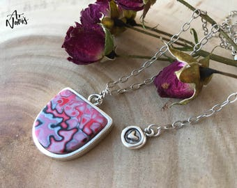 Handmade Polymer Clay Pendant with Silver Plated Chain // One of a Kind Necklace // Gift for Her // Unique Gift Ideas // Mokume Gane