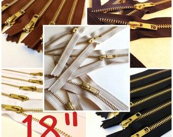 18 inch gold teeth zippers wholesale, Choose TWENTY-FIVE pcs, black, brown, medium brown, beige, and white brass, metal YKK zippers