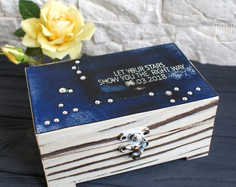 "Personalized Wooden Jewellery Casket ""Constellation of Pisces"". Engraved Gift Inscription Is Available. Decorated by Swarovski crystals."