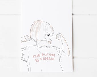 The Future Is Female Feminist Illustration A4 Print