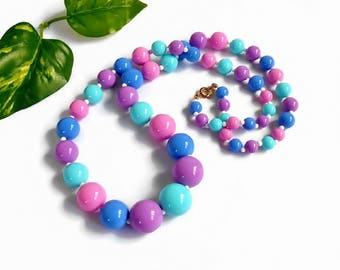 Bead Necklace Pink Blue Green Purple Multi Color Plastic Long Length Spring Summer Vintage Retro Costume Jewelry
