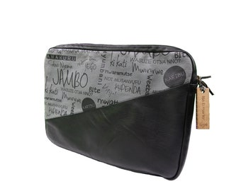 Laptop Bag Padded in Leather and Canvas for your PC and Made in Rwanda