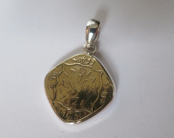 Brass coin pendant, antique indian pendant set in 92.5 sterling silver