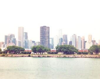 Sailboat Photography | Wood Photo Panel | Chicago skyline wall art | Nautical art for the wall |sky blue, pink | home decor | Lake Michigan
