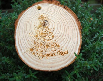 slice of wood with your text or design