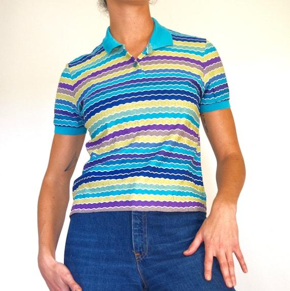 Vintage 90s MISSONI Sport Scalloped Striped Knit Polo Shirt (size medium, large)