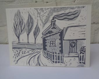 Handmade Lino print 'Winter Cottage' Christmas Card design - Grey