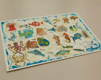 A4/A3 Fish Illustrated Alphabet, Watercolour print