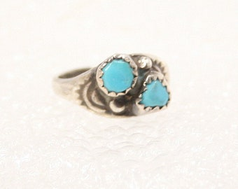 Turquoise Sterling Silver Pinky Ring Child Baby Ring Native American Vintage Small Sterling Bright Blue