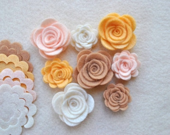 24 Piece Die Cut Felt DIY 3D Roses in Small and Medium, Natural Colors