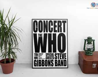 The Who concert poster - print / art - Song Lyric Typography / Gig