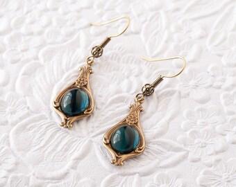 Blue Sapphire Earrings, Montana Sapphire Earrings, Dangle Earrings, Art Nouveau Earrings, Downton Abbey Earrings, Great Gatsby Earrings